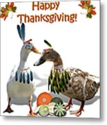 Thanksgiving Indian Ducks Metal Print