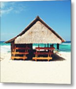 Thatched Roof Cottage/shack On A Perfect White Sand Tropical Beach Bali, Indonesia Metal Print