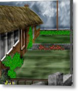 Thatched Roof Cottages In Ireland Metal Print