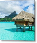 Thatched Roof Honeymoon Bungalow On Bora Bora Metal Print