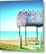 Thatched Roof Hut On Beach Metal Print