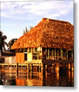 Thatched Roof Placencia Metal Print