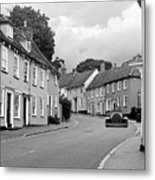 Thaxted Cottages In Black And White Metal Print