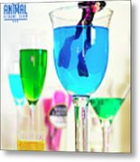 The 1-18 Animal Rescue Team - Cat In Cocktail Glass Metal Print