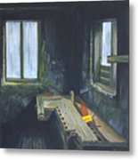 The Abanded Wood Bench Metal Print