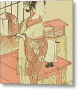 The Actor Segawa Kikunojo II, Possibly As Princess Ayaori In The Play Ima O Sakari Suehiro Genji  Metal Print