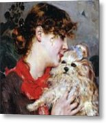 The Actress Rejane And Her Dog Metal Print
