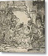 The Adoration Of The Shepherds: With The Lamp Metal Print
