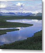 The Alaska Range Reflecting In A Lake Metal Print