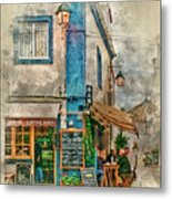 The Albar Coffee Shop In Alvor. Metal Print