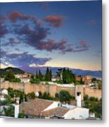 The Alhambra Palace And Albaicin At Sunset Metal Print