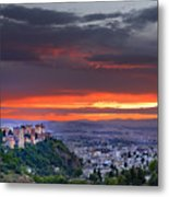 The Alhambra And Granada City Metal Print