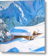 The Alpine Hut Metal Print