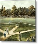 The American National Game Of Baseball Grand Match At Elysian Fields Metal Print by Currier and Ives