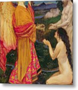 The Angel Offering The Fruits Of The Garden Of Eden To Adam And Eve Metal Print by JBL Shaw