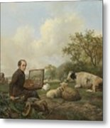 The Artist Painting A Cow In A Meadow, 1850 Metal Print