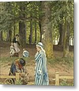 The Artist's Wife And Daughters In A Park At Heringsdorf Metal Print