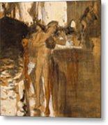 The Balcony, Spain Two Nude Bathers Standing On A Wharf Metal Print