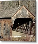 The Baltimore Covered Bridge - Springfield Vermont Usa Metal Print