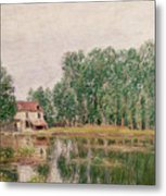 The Banks Of The Canal At Moret Sur Loing Metal Print