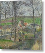 The Banks Of The Viosne At Osny In Grey Weather, Winter Metal Print