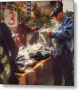 The Bargaining Table - Street Vendors Of New York Metal Print