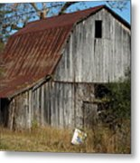 The Barn By The Road Metal Print