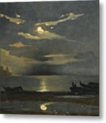 The Bay Of Naples By Moonlight With The Castel Dell'ovo Beyond Metal Print