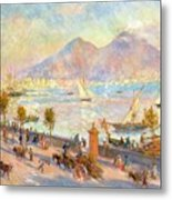 The Bay Of Naples With Vesuvius In The Background Metal Print