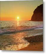 the beach and the Mediterranean sea in Montenegro in the summer at sunset Metal Print