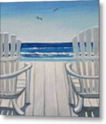 The Beach Chairs Metal Print