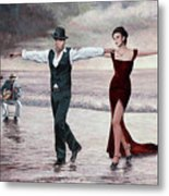 The Beach Quartet, Lady In Red Metal Print
