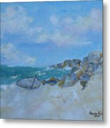 The Beached Boat Metal Print