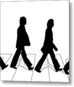 The Beatles Abbey Road Silhouette Drawing Metal Print