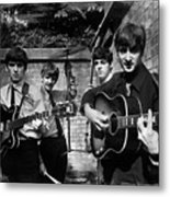 The Beatles In London 1963 Black And White Painting Metal Print