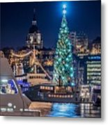 The Beautiful, Freshly Renovated Katarina Church And The Gigantic Christmas Tree In Stockholm Metal Print