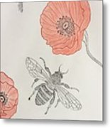 The Bee And Red Poppies  Metal Print