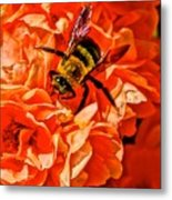 The Bee And The Flower Metal Print