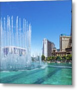 The Bellagio Fountains In Front Of The Eiffel Tower 2 To 1 Ratio Metal Print