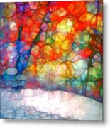 The Bench At First Snow Metal Print