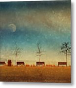 The Benches By The Moon Metal Print