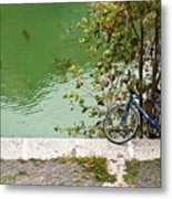 The Bicycle Is A Ubiquitous Form Of Transport In Europe And This Owner Has Literally Gone Fishing. Metal Print