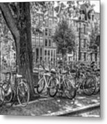 The Bicycles Of Amsterdam In Black And White Metal Print