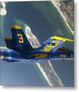 The Blue Angels Perform A Looping Metal Print by Stocktrek Images
