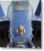 the Blue Angels waits for a signal from his pilot  Metal Print