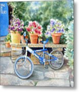 The Blue Bicycle Metal Print