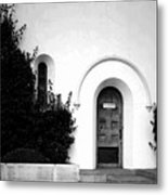 The Blue Door B And W Metal Print