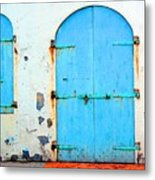 The Blue Door Shutters Metal Print