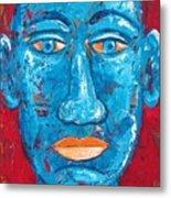 Contemplative Blue Metal Print
