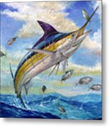 The Blue Marlin Leaping To Eat Metal Print by Terry  Fox